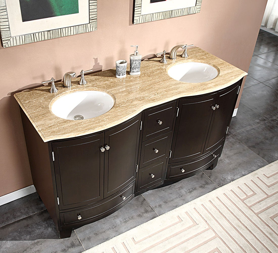 Silkroad Exclusive 60 Inch Travertine Stone Top Bathroom Vanity Double Sink Cabinet Overstock