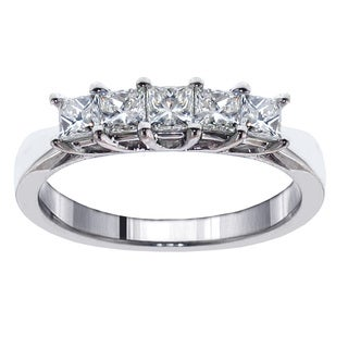14k White Gold 1ct TDW Princess-cut Diamond 5-stone Ring (F-G, SI1-SI2)