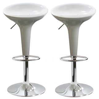 AmeriHome Two-Piece White Barstool Set