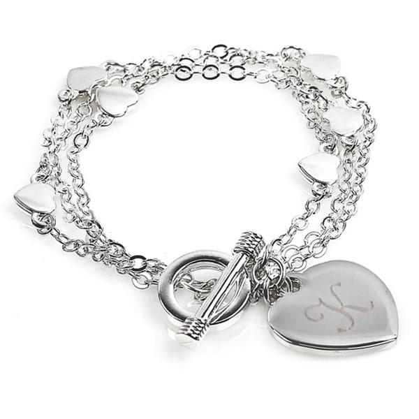 Silvertone Triple-strand Personalized Heart Charm Bracelet