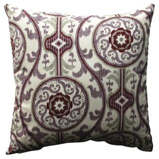 Pillow Perfect Suzani Damask Plum 18-inch Throw Pillow