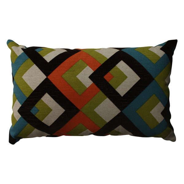 Pillow Perfect Overlap Geo Turquoise Rectangular Throw Pillow