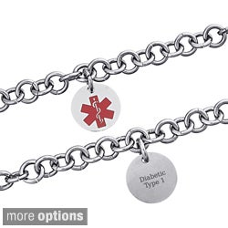 Stainless Steel Engraved Round Medical Alert ID Bracelet