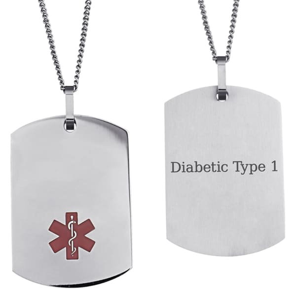 Stainless Steel Engraved Medical Alert ID Dog Tag Necklace