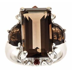 D'Yach Sterling Silver Smoky Quartz, Smoky Topaz and Red Garnet Ring