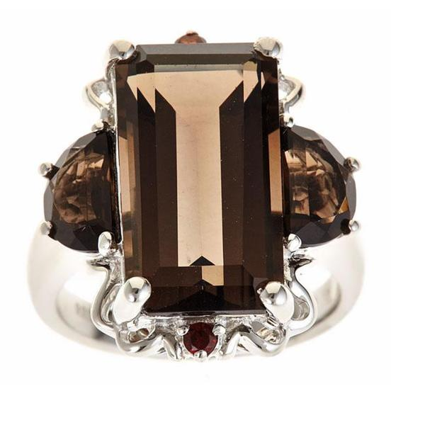 Anika and August Sterling Silver Smoky Quartz, Smoky Topaz and Red Garnet Ring