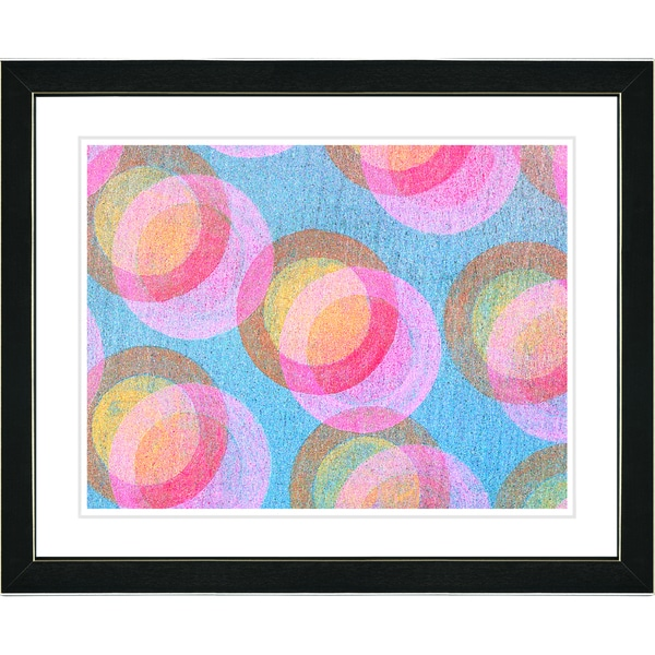 Zhee Singer 'Circle Series - Pastel Pink' Black Framed Art Print