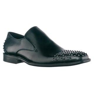 Steve Madden Men's 'Panikk' Black Leathter Studded Loafers