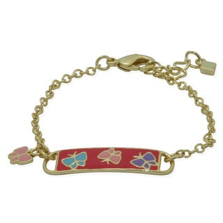 Junior Jewels 18k Gold Overlay Children's Enamel Butterfly ID Bracelet