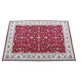 Indo Hand-knotted Red/ Ivory Vegetable Dye Wool Rug (17'10 x 26'2)