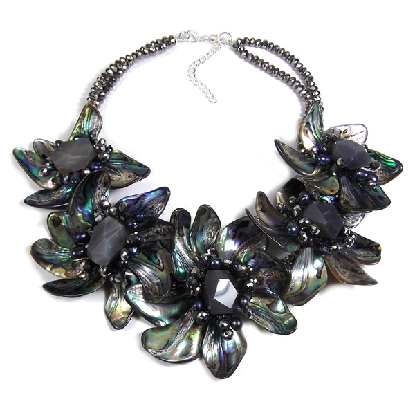 One of a Kind Floral Dancer Abalone Shell Necklace (Thailand)