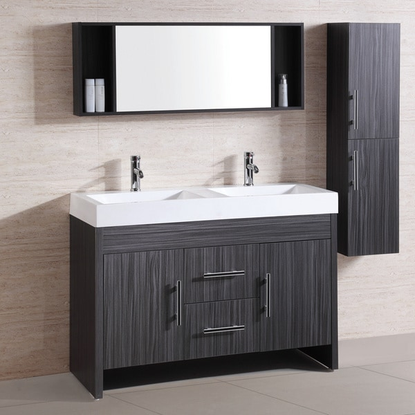 Resin top 48 inch double sink bathroom vanity set for Bathroom 48 inch vanity