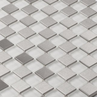 Martini Mosaic Steel Ice 12x12-inch Tile Sheets (Set of 5 Sheets)