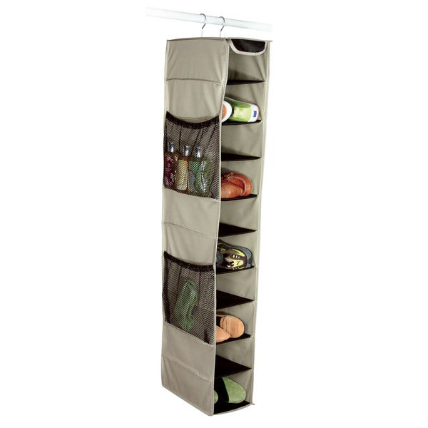 Richards Homewares Gearbox 10-Shelf Khaki/Black Hanging Shoe Organizer