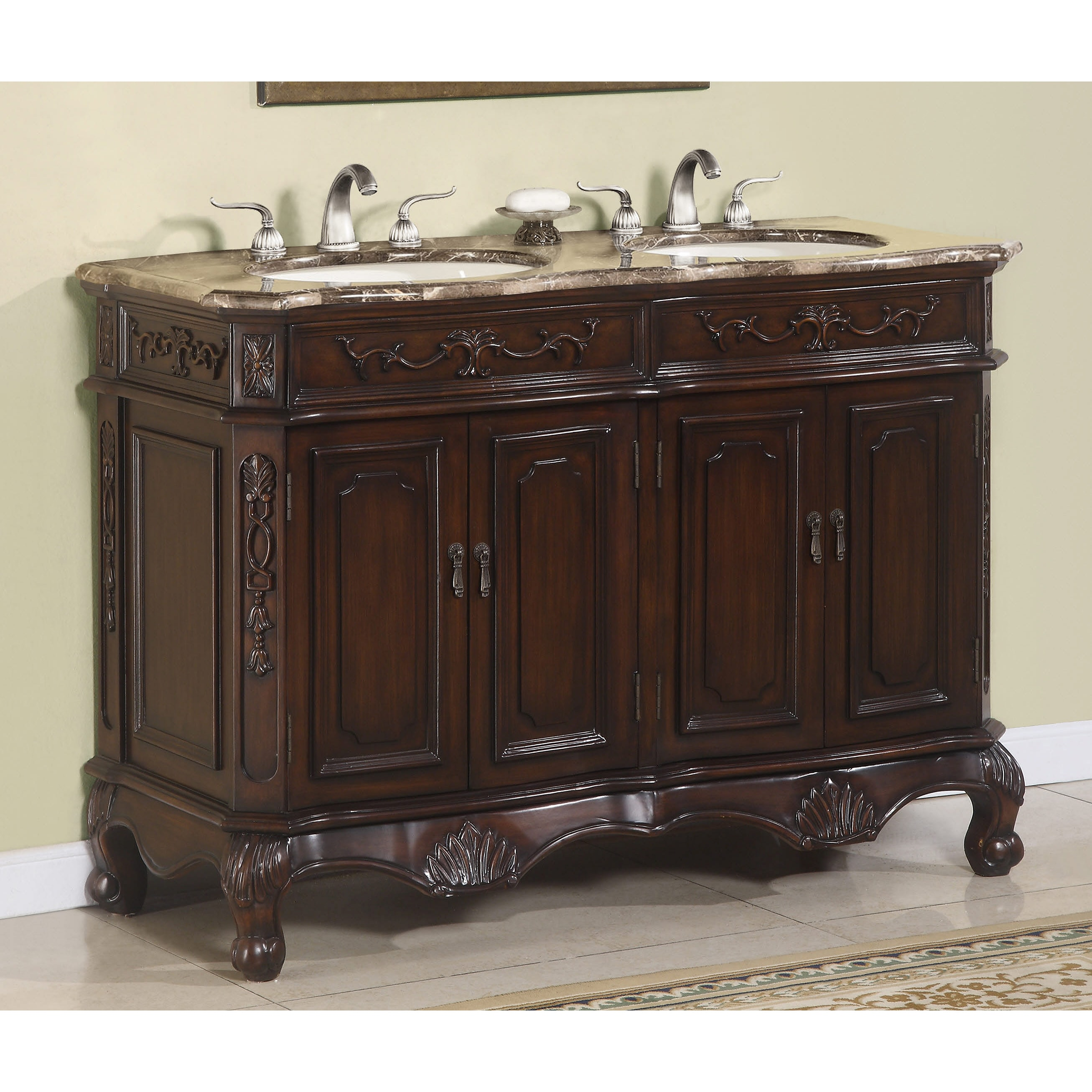 Hestia 50 inch Marble top Double Vanity Overstock Shopping Great Deals on