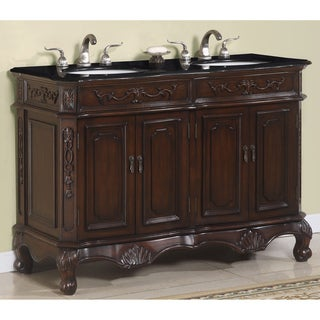 Vesta Traditional Brown Cherry Marbled Top Double Vanity