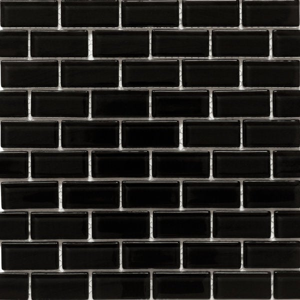 Martini Mosaic Essen Very Black Glass 11.75 x 11.75-inch Tile Sheets (Set of 10)