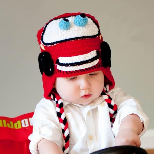 Handmade Boy's Racing Car Knit Hat