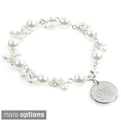 Silverplated FW Pearl Personalized Bracelet (8 mm)