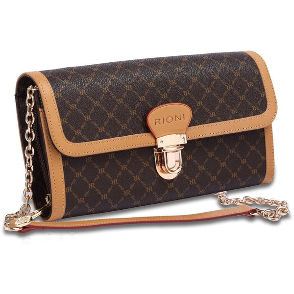 Rioni Signature Brown Chained Clutch