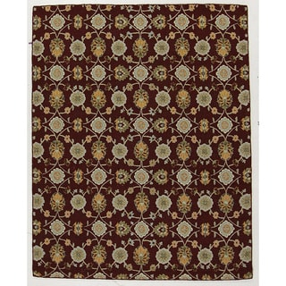 Hand-tufted Floral Burgundy Wool Rug (8' x 10')