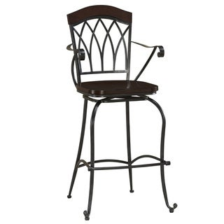 Austen Charcoal/ Espresso Arm Rest Swivel Stool