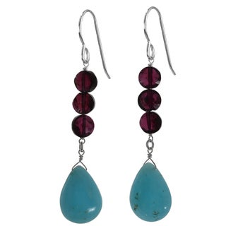 Ashanti Sterling Silver Hemimorphite Briolette and Garnet Earrings (Sri Lanka)