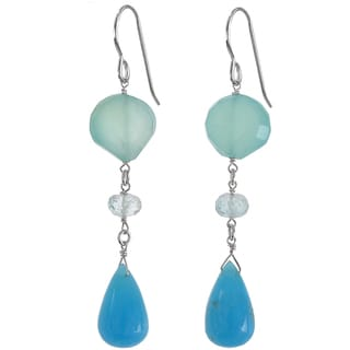 Ashanti Sterling Silver Hemimorphite Briolette, Aqua Chalcedony and Aquamarine Earrings (Sri Lanka)