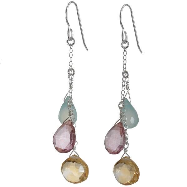 Ashanti Sterling-Silver Multi-Gemstone Briolette Dangle Earrings (Sri Lanka)