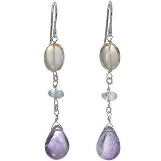 Ashanti Sterling Silver Amethyst Citrine and Aquamarine Earrings (Sri Lanka)