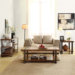 TRIBECCA HOME Lawson 3-Piece Brass and Reclaimed Wood Table Set