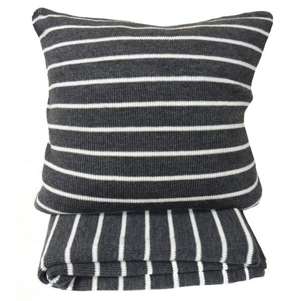 Daniel Grey Striped Throw or 20-inch Throw Pillow