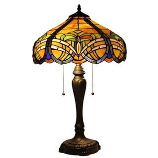 Amora Lighting Tiffany Style 2-light Baroque Table Lamp