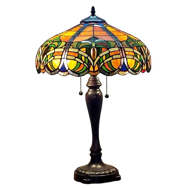 amora lighting tiffany style 2 light 25 inch baroque table lamp. Black Bedroom Furniture Sets. Home Design Ideas