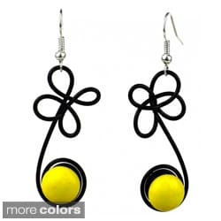 Handmade Women's Spring Glass and Enamel Wire Dangling Earrings (Chile)