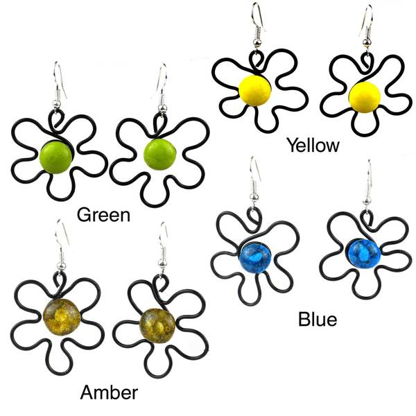 Handmade Enamel Wire and Glass Pansy Earrings (Chile)