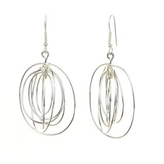 Handcrafted Large Silverplated 7 Ovals Earrings (Mexico)
