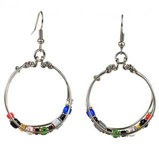 Handcrafted Beaded Silverplated Loop Earrings (Kenya)