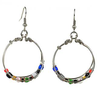 Handcrafted Multicolored Bead Hoop Earrings (Kenya)
