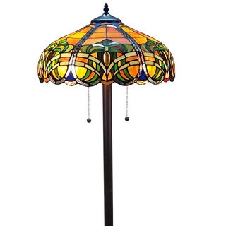 Amora Lighting Tiffany Style 2-light Baroque Floor Lamp