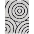 Mandara Hand-tufted White/ Black Shag Rug (3' x 5')