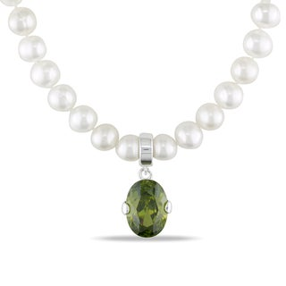 Miadora Silver FW Pearl and Green Cubic Zirconia Necklace (6.5-7 mm)