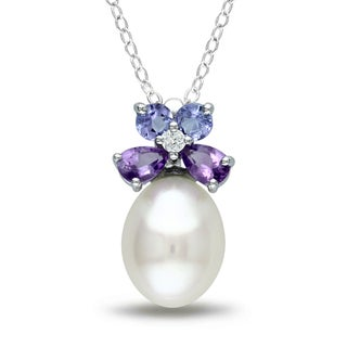 Miadora Silver Pearl, Tanzanite, Amethyst and Diamond Necklace (8.5-9 mm)