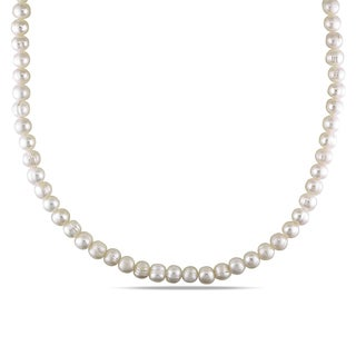 Miadora Freshwater White Pearl Necklace (7-8 mm)