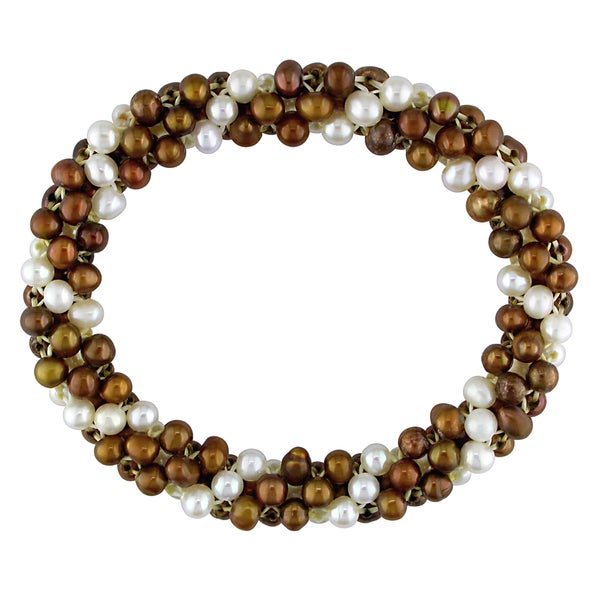 Miadora Freshwater Brown and White Pearl Multi-row Stretch Bracelet (4-5mm)