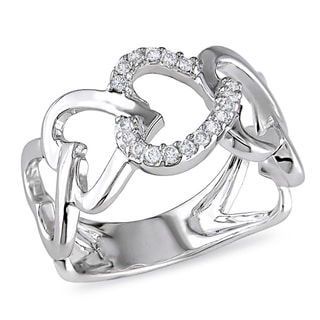 Miadora 10k White Gold 1/8ct TDW Diamond Heart Ring (H-I, I2-I3)