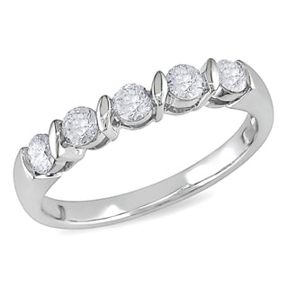 Miadora 10k White Gold 1/2ct TDW Diamond Anniversary Ring (H-I, I2-I3)