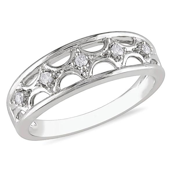 Miadora 10k White Gold Diamond Ring