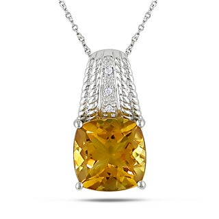 Miadora 14k White Gold Diamond and Citrine Necklace