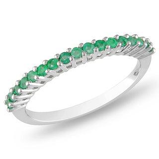 Miadora 10k White Gold 1/3ct TGW Emerald Ring